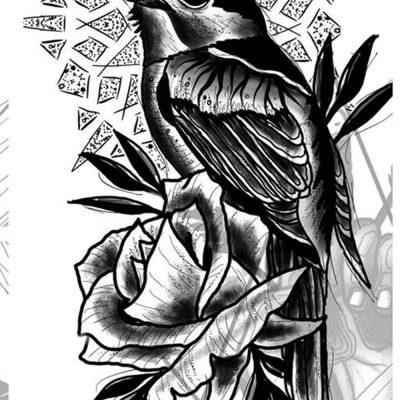 Herzwert Wannado von Florian - Rose und Vogel