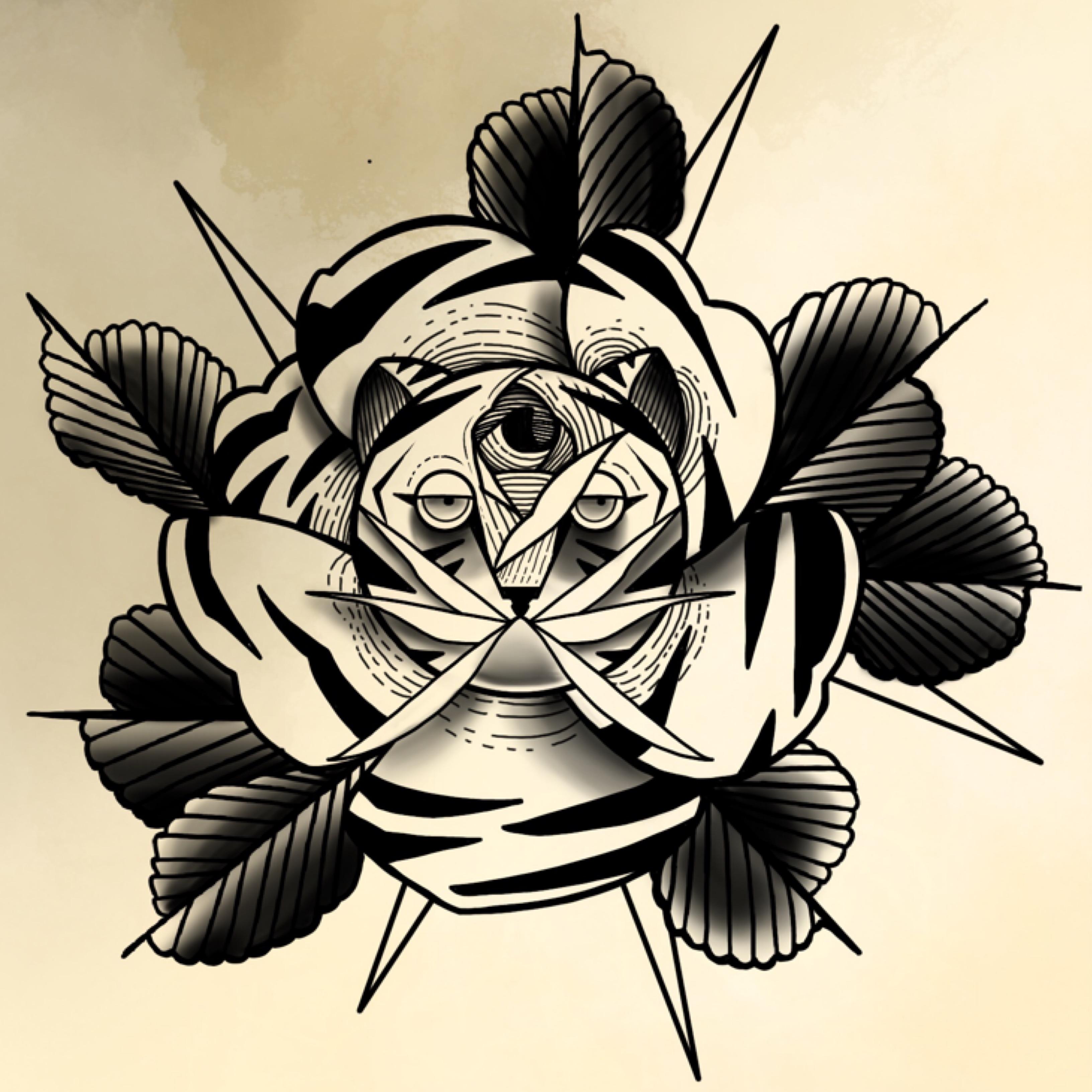 Schwarz- weiß Rose mit Kater von Celine